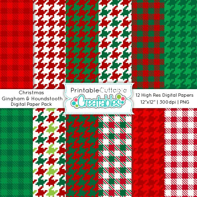 Christmas-Gingham-Houndstooth-Digital-Paper