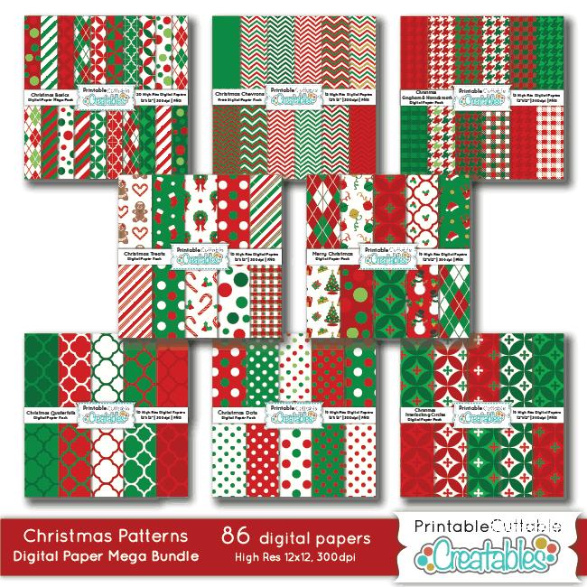 Christmas Patterns Digital Paper Mega Bundle