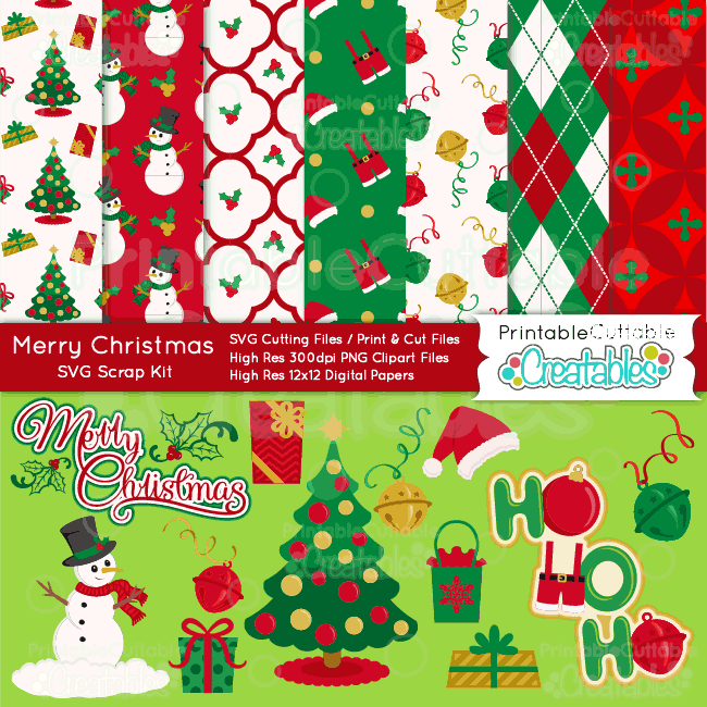 Merry-Christmas-SVG-Craft-Bundle-Cut Files -Digital Paper