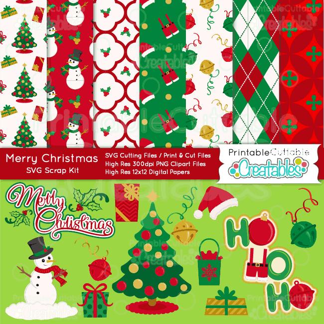 Merry-Christmas-SVG-Craft-Bundle-Cut Files -Digital Paper