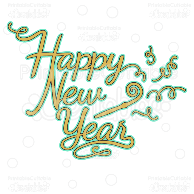 happy new year svg cut files clipart