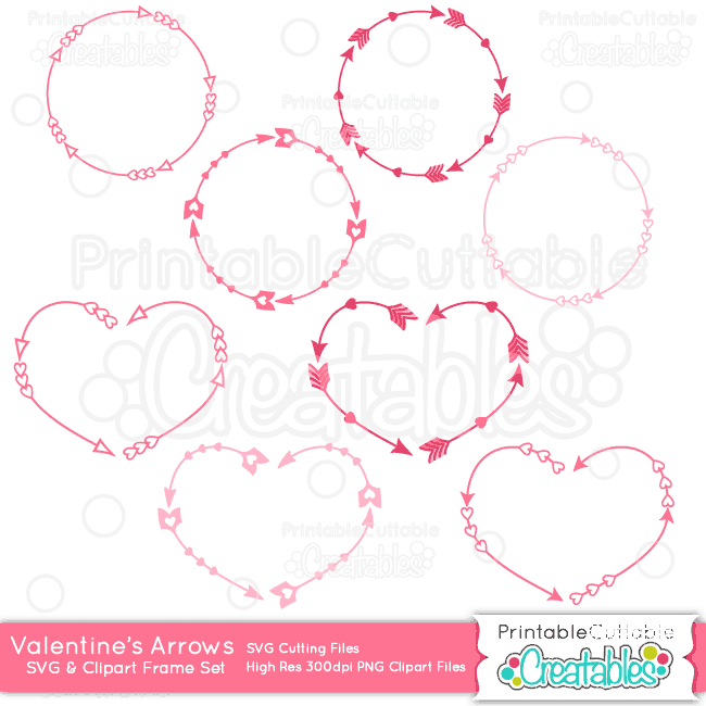 Valentines Monogram Arrow Frames SVG Cut File Clipart