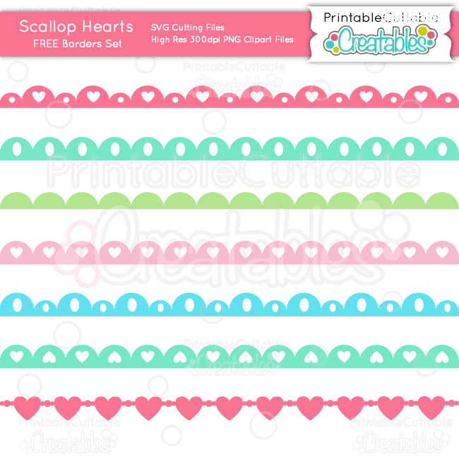 Scallop Hearts Borders Set SVG Cutting Files & Clipart