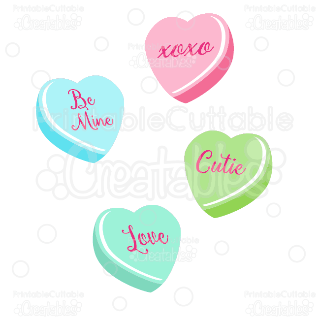 Valentine S Candy Hearts Svg Cut Files Clipart