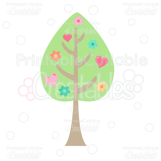 Free printable border designs for paper - Woodland Love Tree Free Clipart And Svg Cut Files