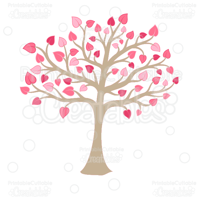 Valentine's Heart Tree Clipart and SVG Cut Files