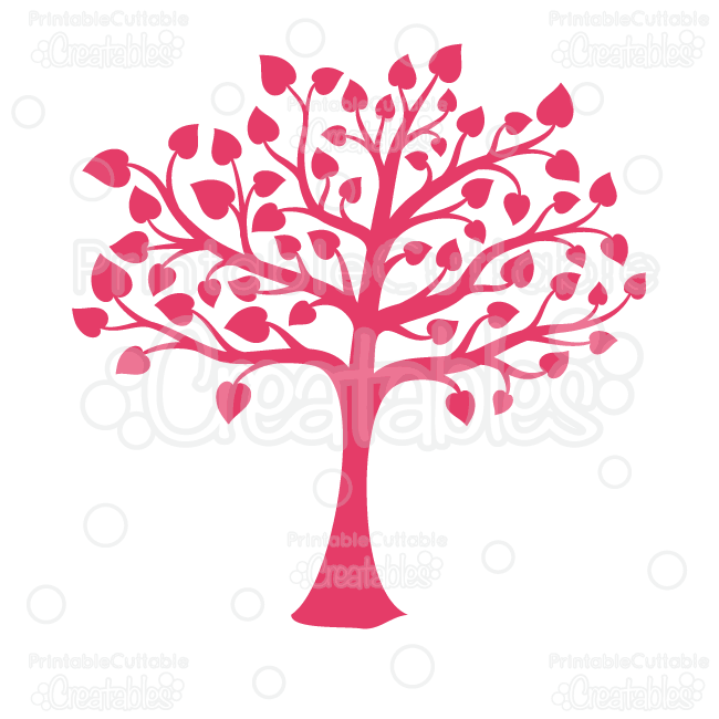 Valentine's Heart Tree Silhouette Clipart and SVG Cut Files