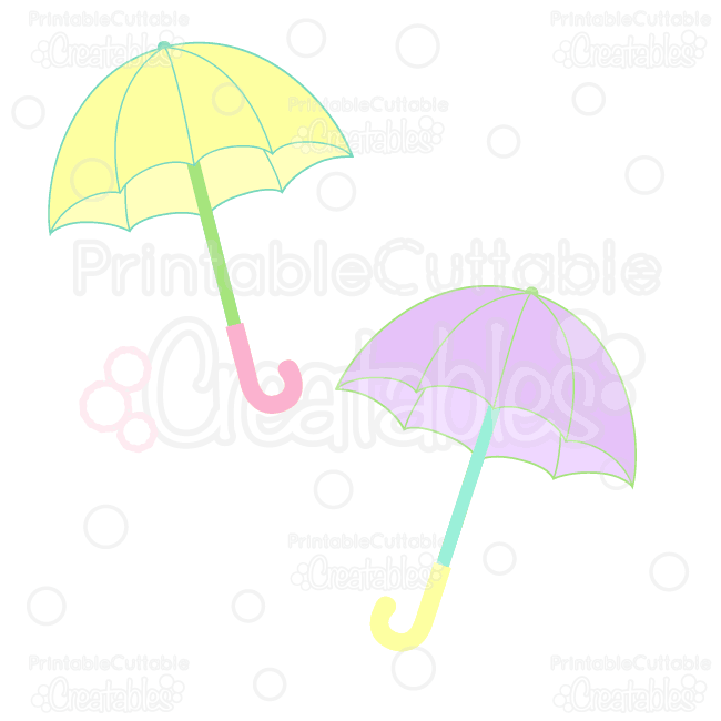 Rainy Day Umbrellas Free Clipart & Free SVG Cut Files