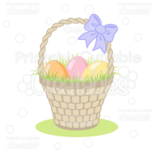 Woven Easter Basket SVG Cut Files Clipart
