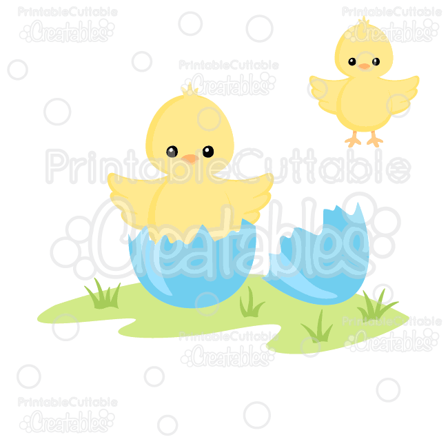 E106 Hatching Easter Chick SVG Cutting File preview