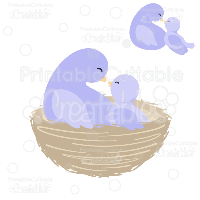 Mama-n-Baby-Bird-in-Nest-SVG-Cut-File-Clipart