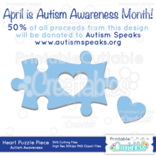 Puzzle Piece Heart Autism SVG Cut Files & Clipart