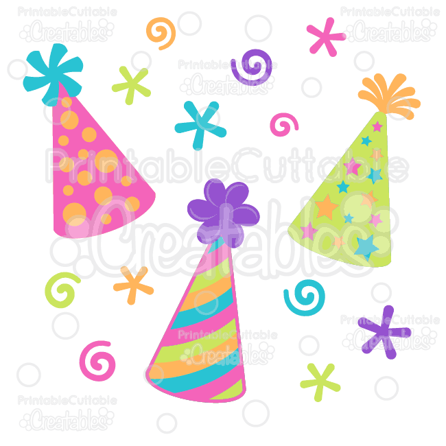 birthday party hats free svg cut file clipart