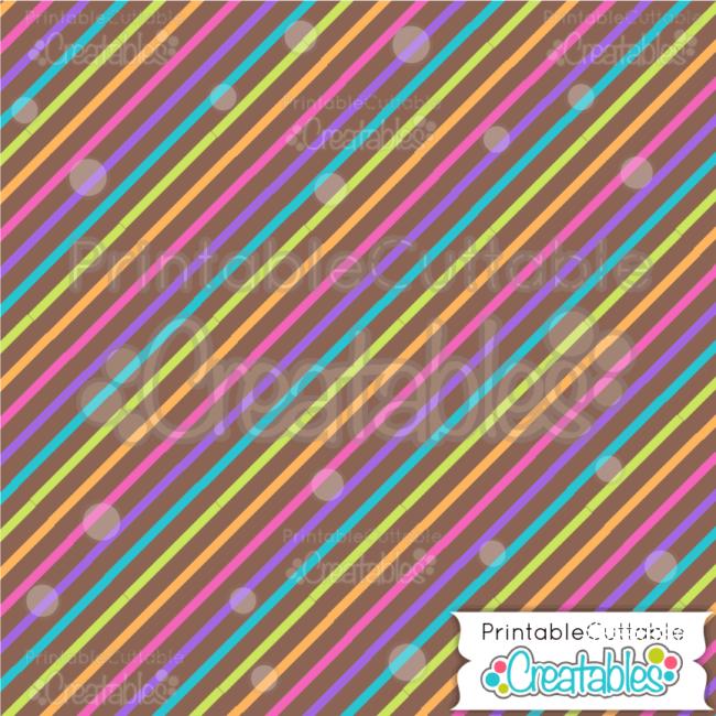 09 Birthday Thin Diagonal Stripe on Brown Digital Paper