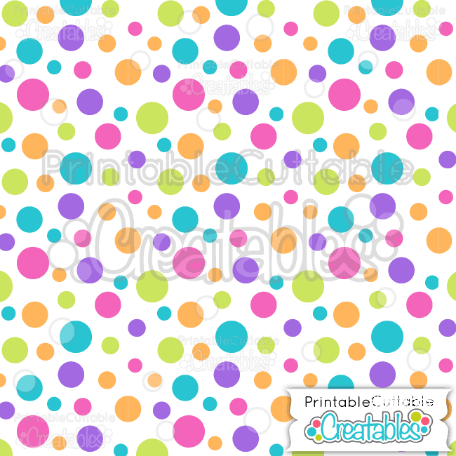 11 Large Tossed Dot on White Digital Paper