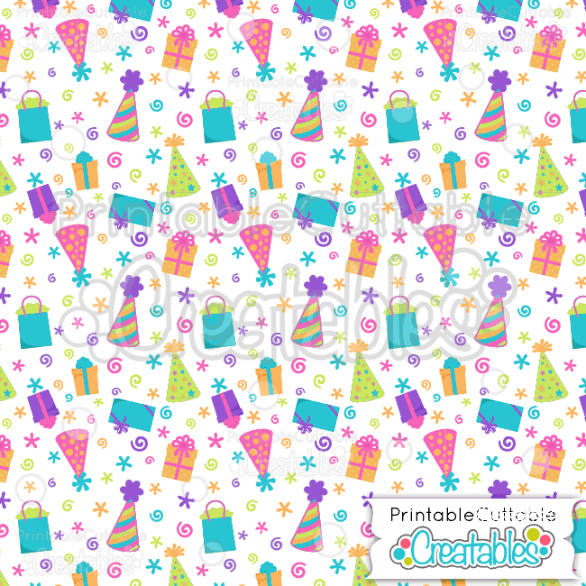 14 Birthday Hats Presents Digital Paper
