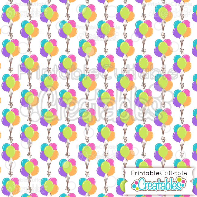 20 Birthday Balloons Digital Paper