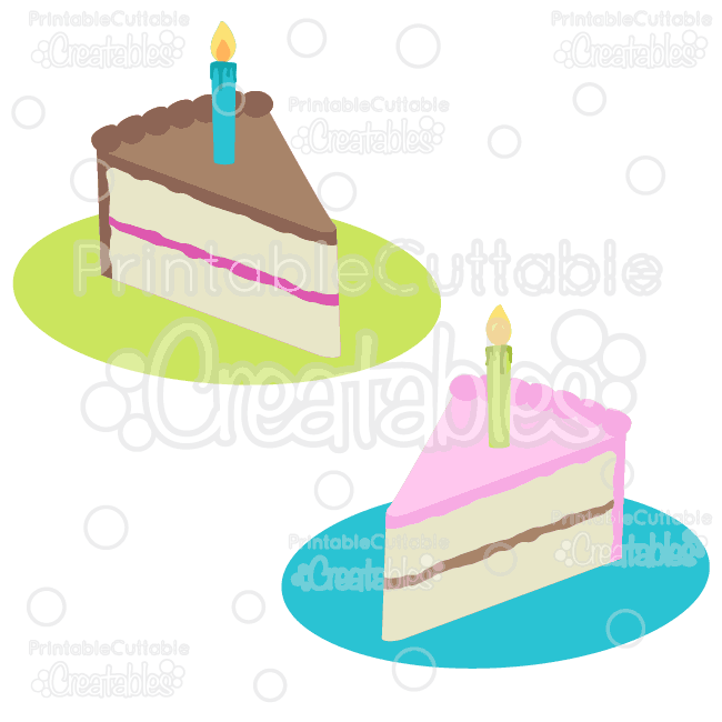 Birthday Cake Slices Free SVG Cut File Clipart