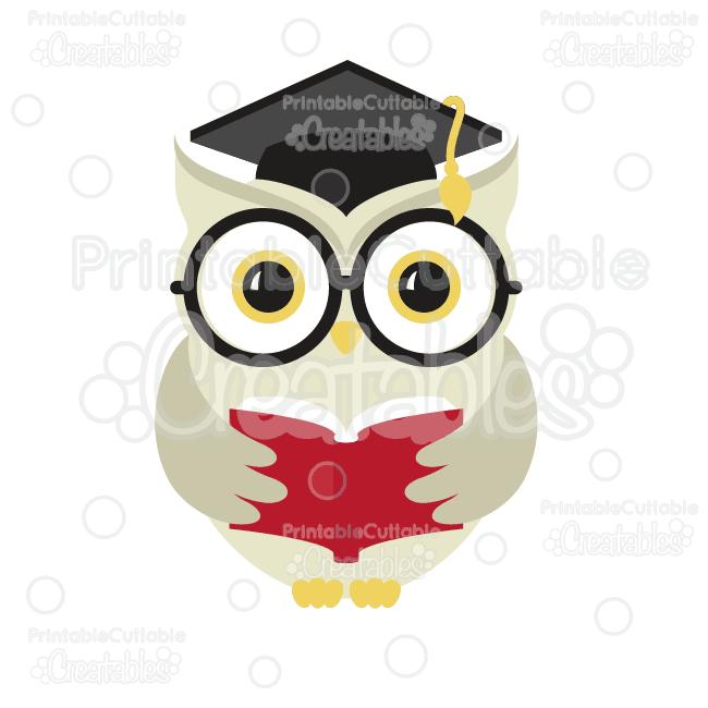 E132 Wise Owl Graduate SVG Cut File Clipart preview