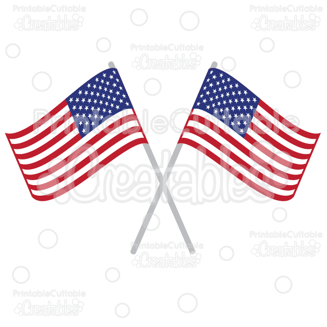 Crossed-American-Flags-SVG-Cut-Files-Clipart