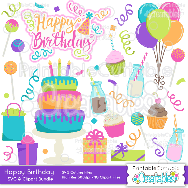 Happy Birthday Svg Cut Files Clipart Bundle