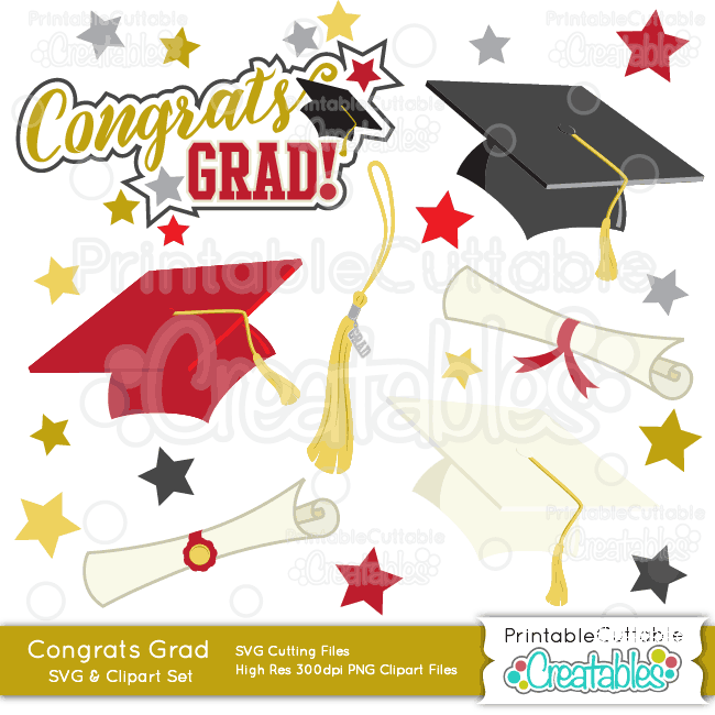 ES017 Congrats Grad Graduation SVG Cut Files Clipart preview