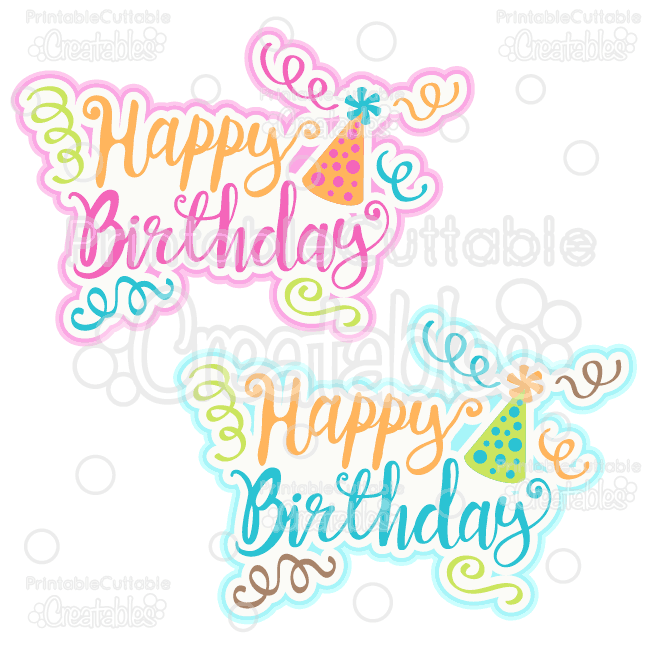 T023 Happy Birthday Scrapbook Title SVG Cut File Clipart Preview