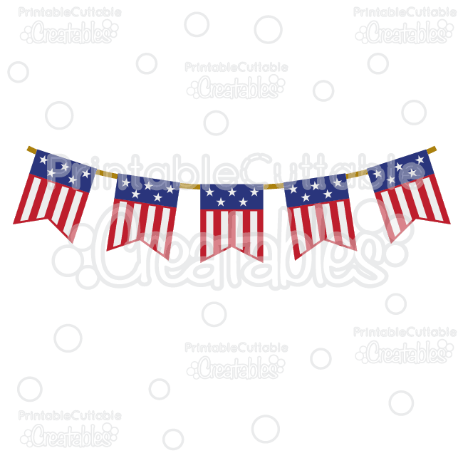Patriotic Flag Banner Free SVG Cutting File & Clipart