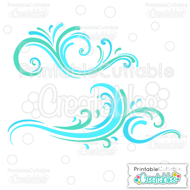 E150 Ocean Wave Flourishes SVG Cut File Clipart preview2