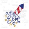 Patriotic Swirls Firecracker SVG Cut File & Clipart