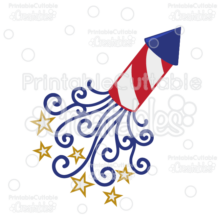 Patriotic Swirls Firecracker SVG Cut File & Clipart