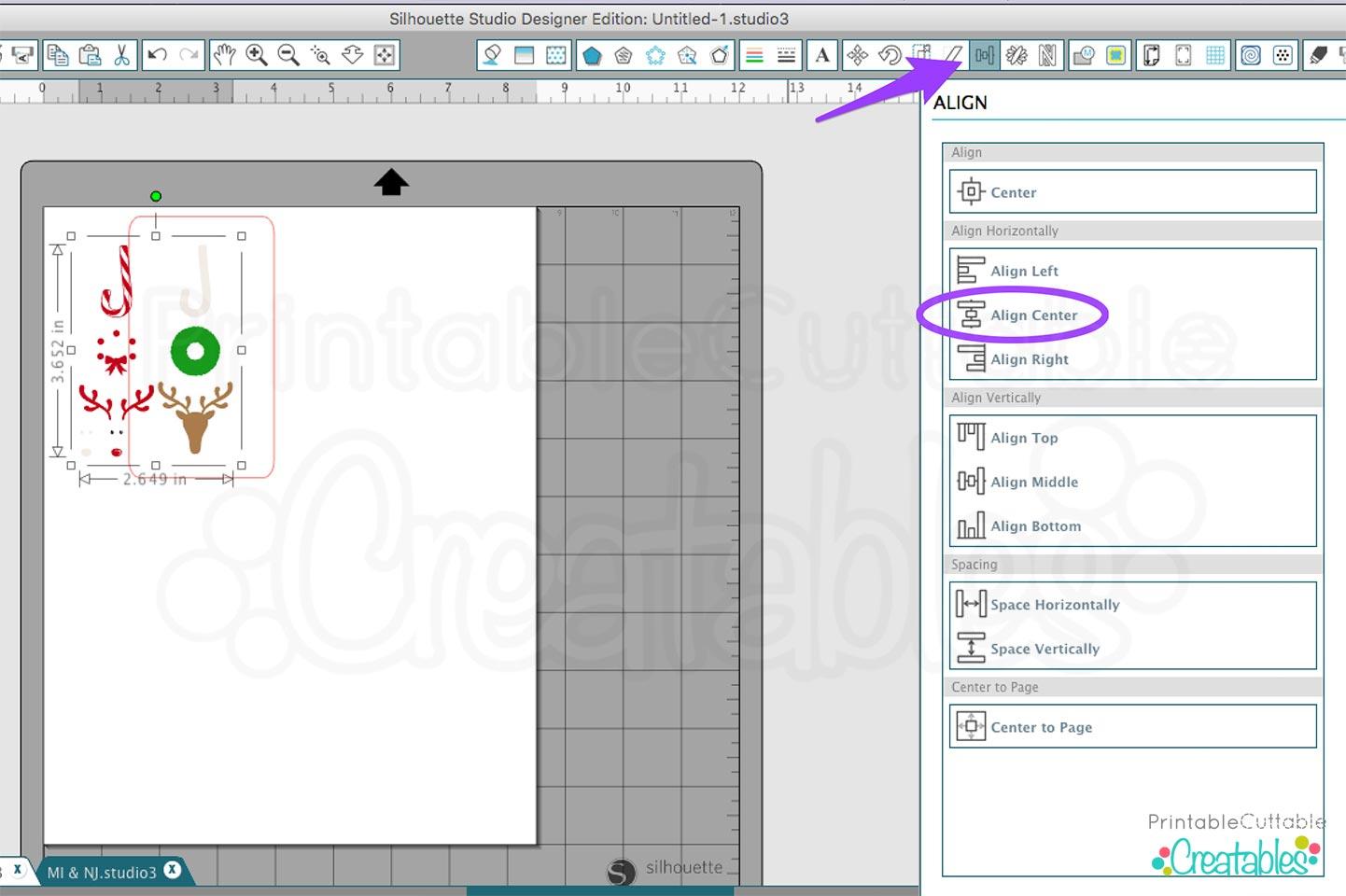 Silhouette Studio Designer Edition Align Panel