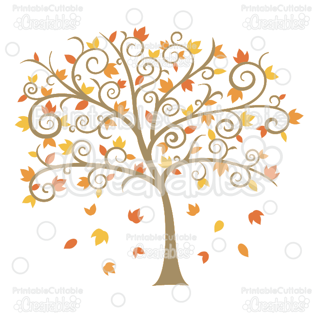 Fancy Swirls Autumn Tree SVG Cutting Files