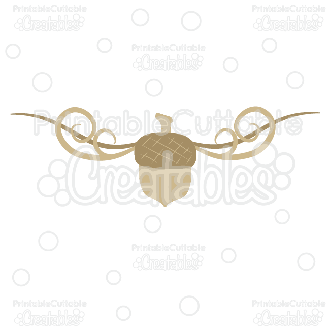 Fancy Swirls Autumn Acorn Free SVG Cut File