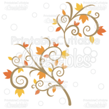 Fancy Swirls Autumn Branch Flourishes SVG Cutting Files & Clipart