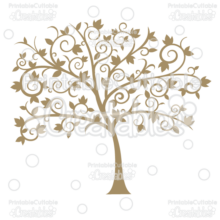 Fancy Swirls Autumn Tree Silhouette SVG Cut File
