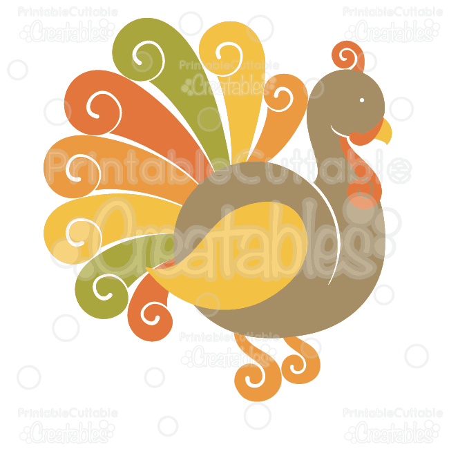 Fancy Swirls Thanksgiving Turkey SVG Cutting File & Clipart
