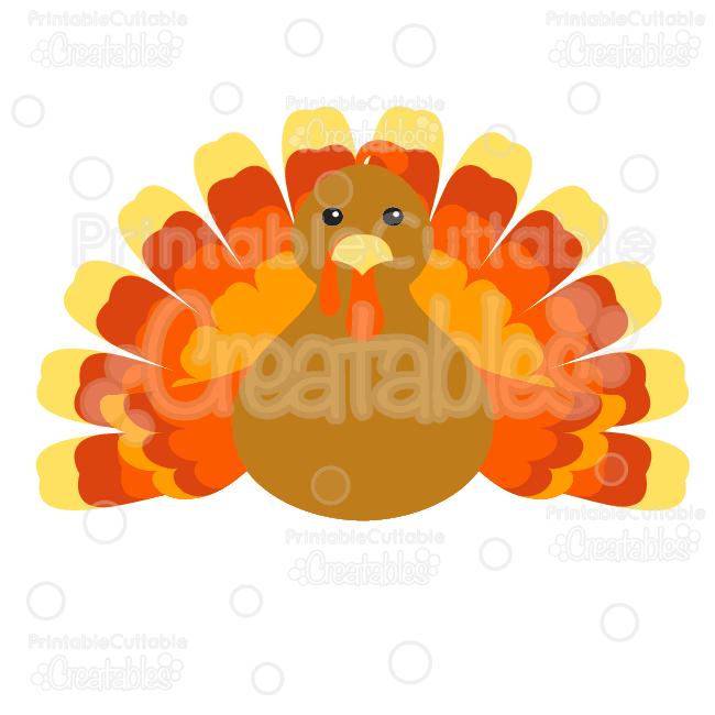 Cute Thanksgiving Turkey Free Cutting File Clipart