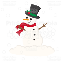 Christmas Snowman SVG Cut File & Clipart