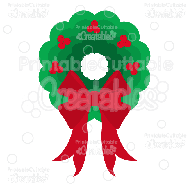 Nested Scallop Christmas Wreath SVG Cut File & Clipart