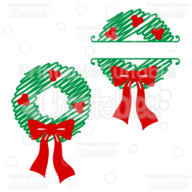 Split Scribble Christmas Wreath Free Svg File Clipart