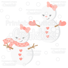 Cute Girl Snowman SVG Cut File & Clipart