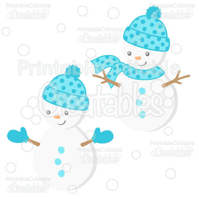 Cute Boy Snowman SVG Cut File & Clipart