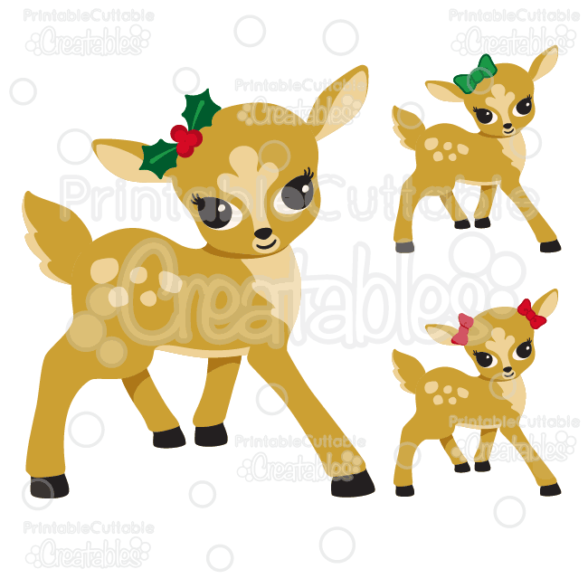 Cute Girl Reindeer SVG Cutting Files & Clipart