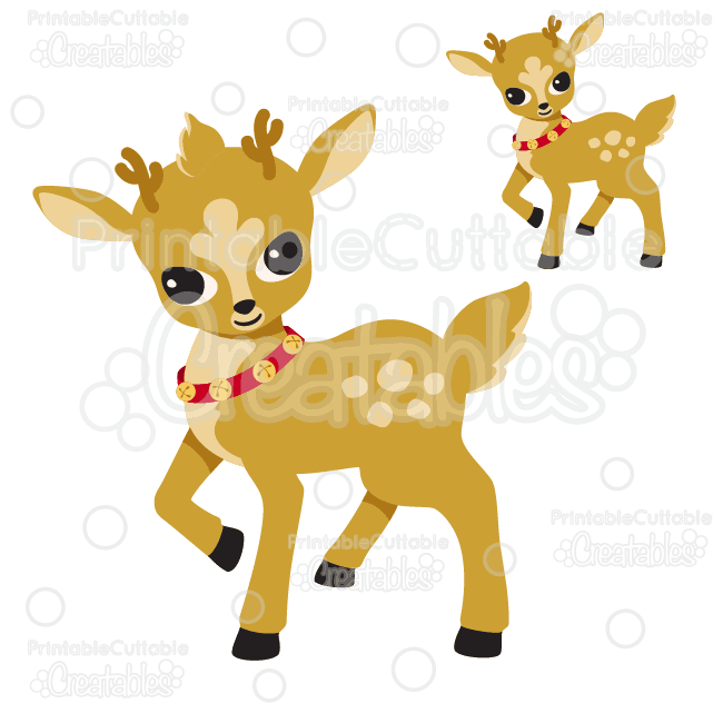 Cute Christmas Reindeer SVG Cutting Files & Clipart