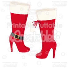 Stiletto Christmas Boots SVG Cut Files & Clipart