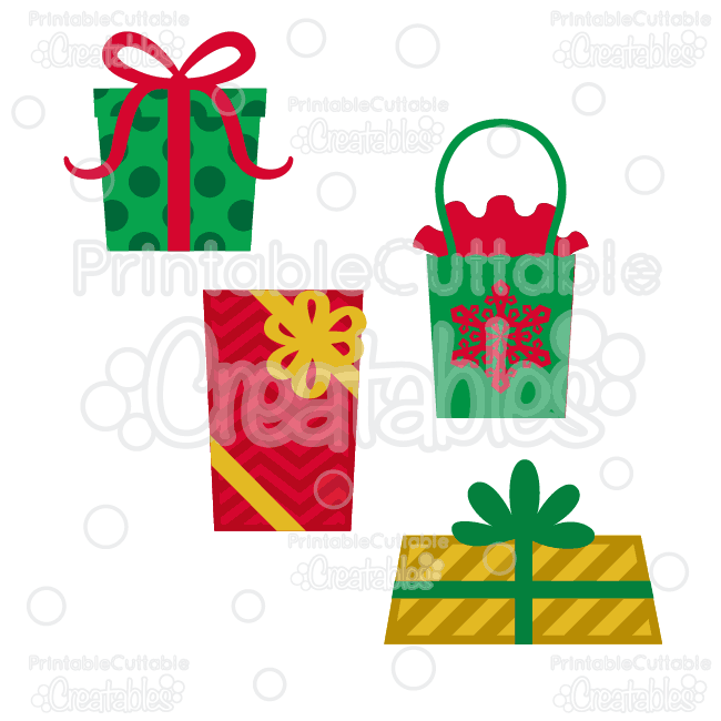 Christmas Presents Free SVG Cutting Files Clipart