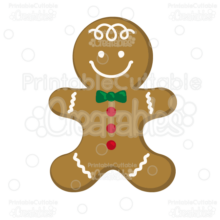 Gingerbread Man Cookie Free SVG Cutting File & Clipart