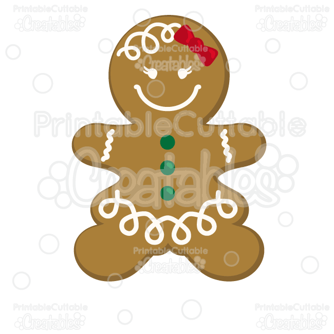 Gingerbread Girl Cookie SVG Cutting File & Clipart