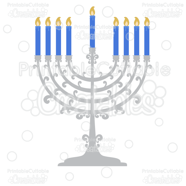 Flourish Hanukkah Menorah SVG Cutting File & Clipart